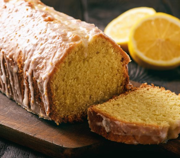 Homemade vegan lemon bread with glaze